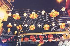 lampions and umbrellas in China town