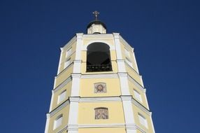 Church of St. Philip the Metropolitan of Moscow, bell tower at sky, russia