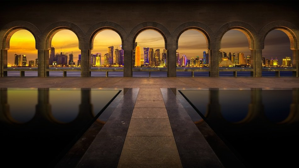 arches architecture building city Qatar