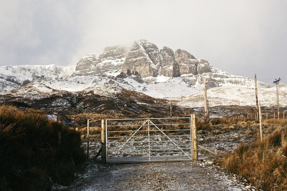 gate snow mountain landscape
