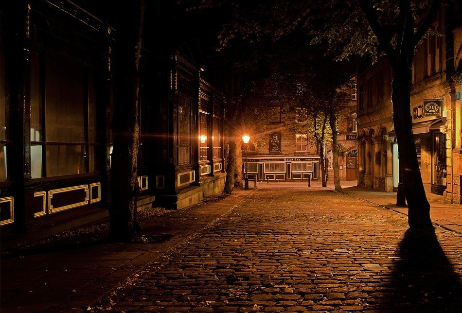 sleeping city, empty old street at night, uk, england, harrogate