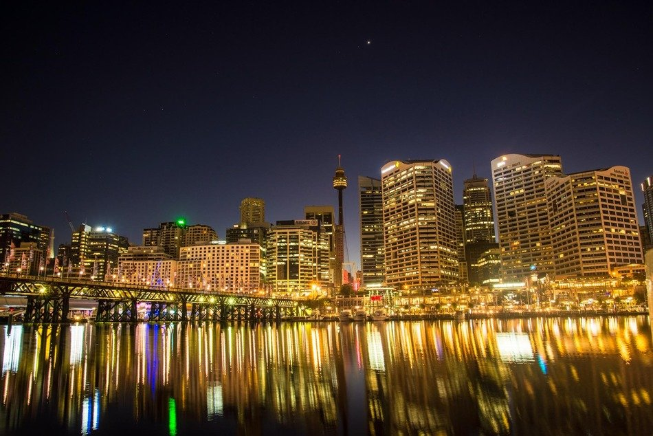 darling harbour night skyline with reflection on water, australia, sydney