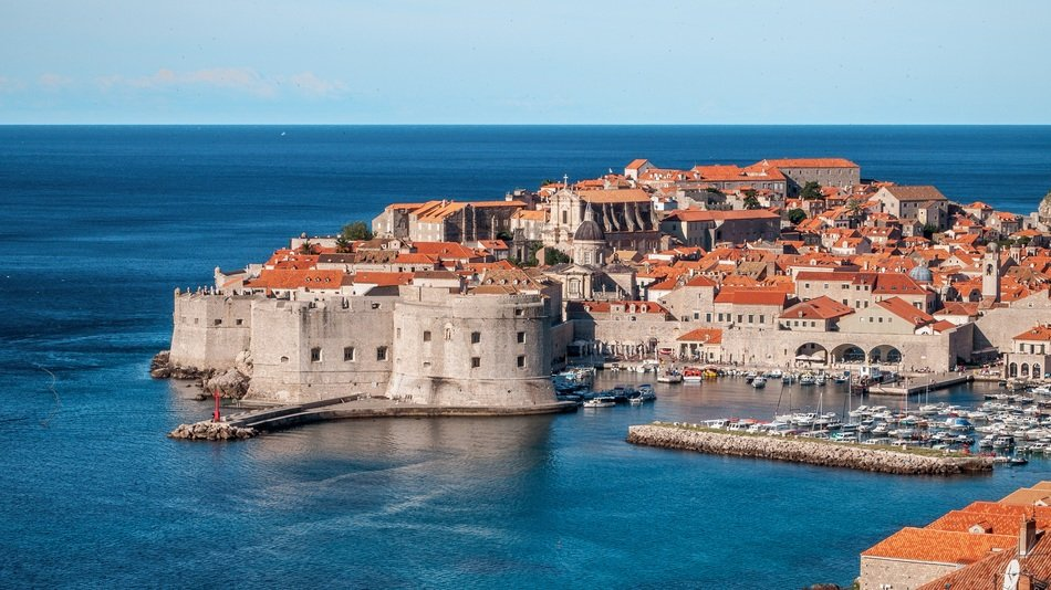 top view of old town with medieval fortress at sea, croatia, dubrovnik