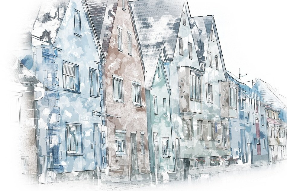 dwelling houses on street, artwork