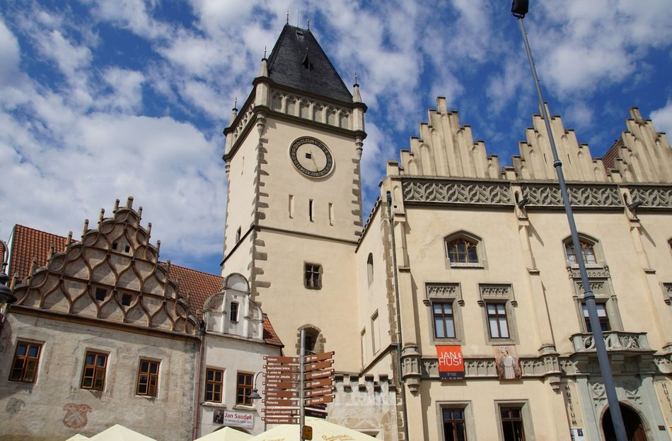 Tabor City Hall with tower, Hussite Museum in beauiful old town, czech