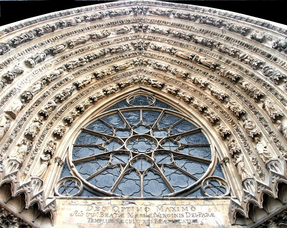gothic ornament above porch of Roman Catholic cathedral, france, reims