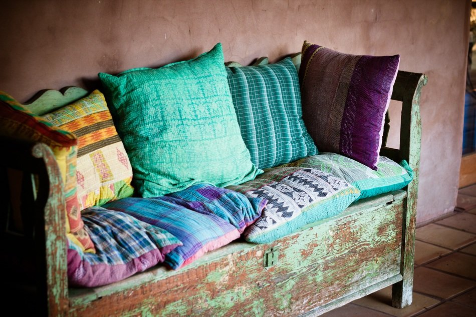 colorful pillows decor old wood bench free image