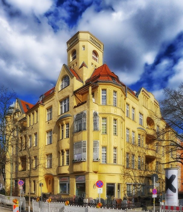 picturesque yellow building, germany, berlin, friednau