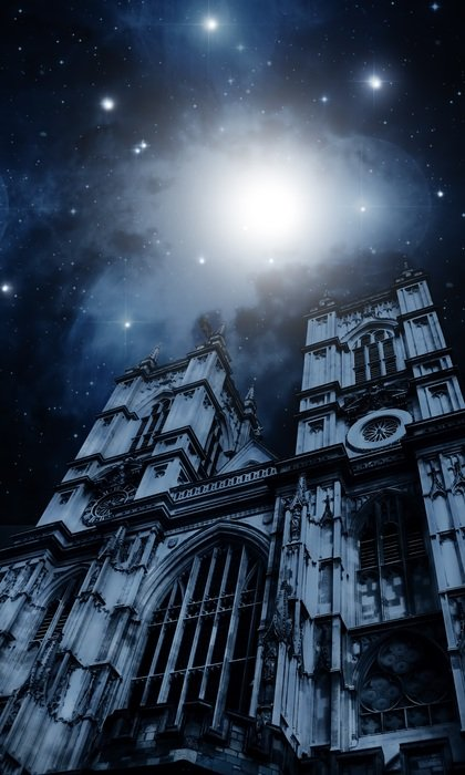 full moon at starry sky above westminster cathedral, uk, england, london