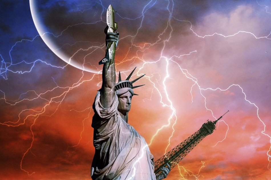 statue of liberty with aircraft and eiffel tower in hands, digital art