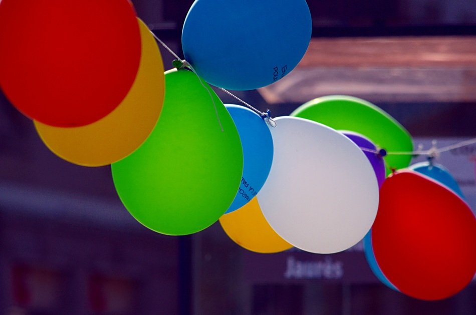 colorful balloons on line
