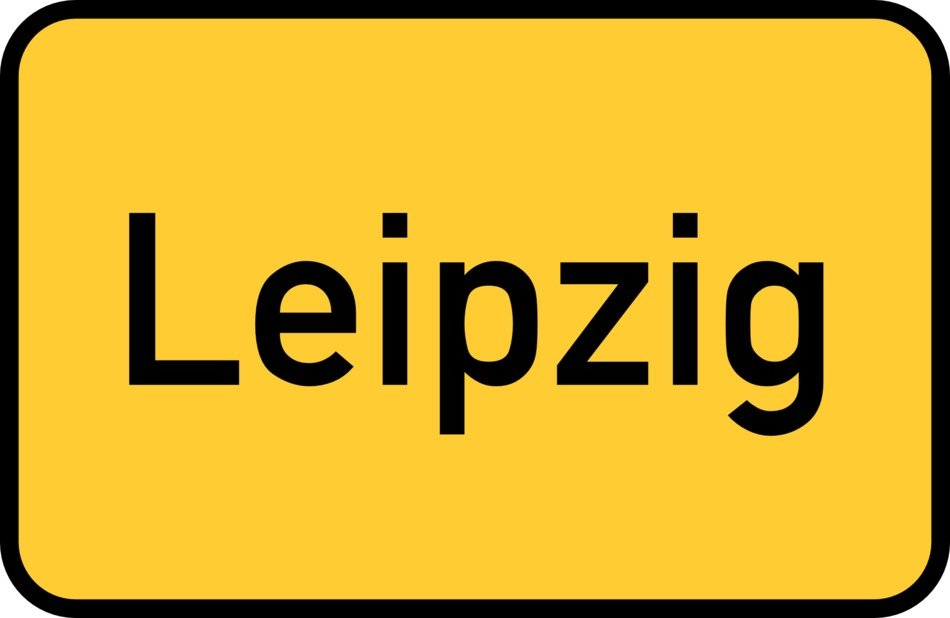 leipzig yellow town sign city limits