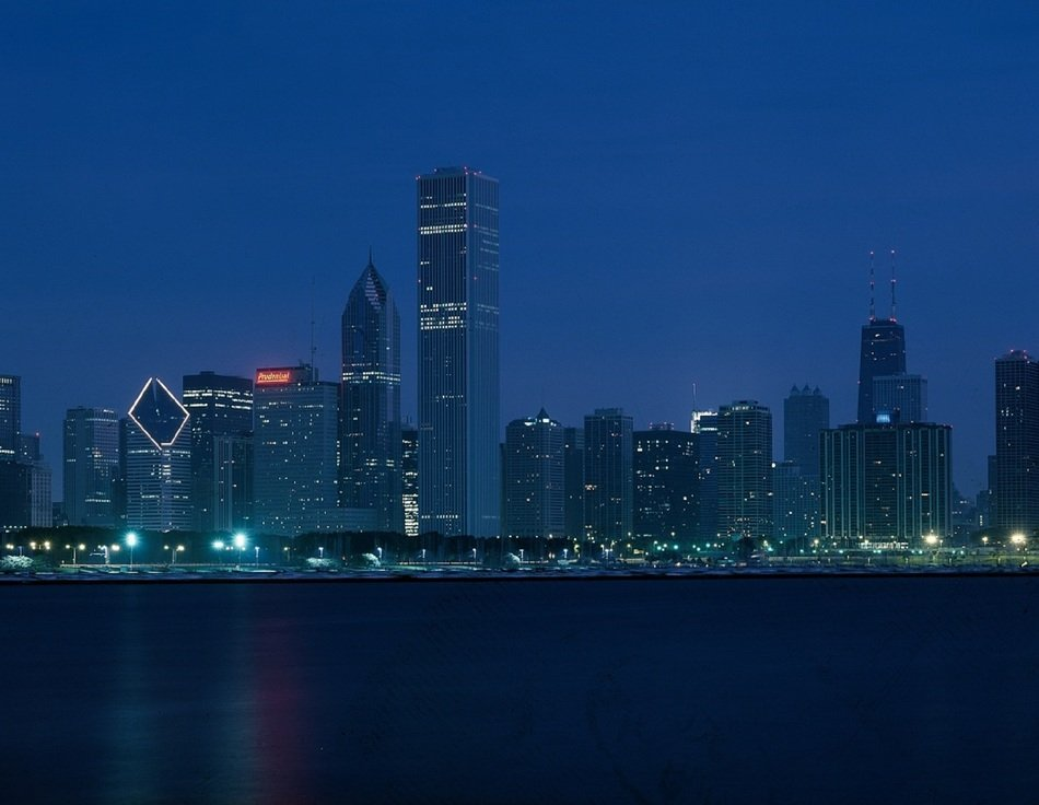 foggy chicago skyline at dusk, usa, illinois