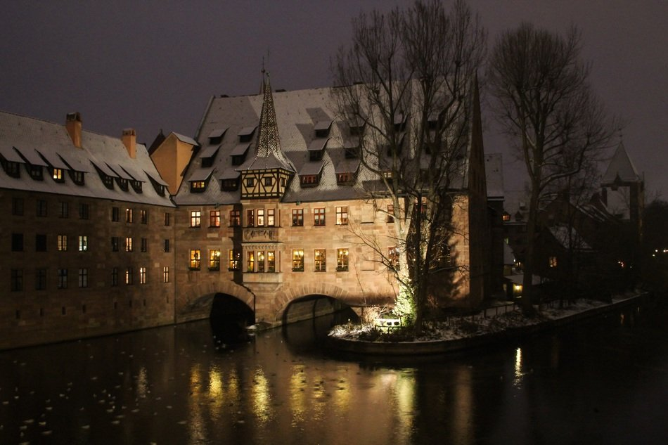 nuremberg winter view middle ages hospital building