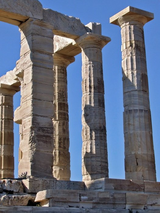 temple of poseidon, ancient ruin at sky, greece, sounio