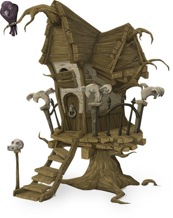 witch's tree house, fairy tale illustration