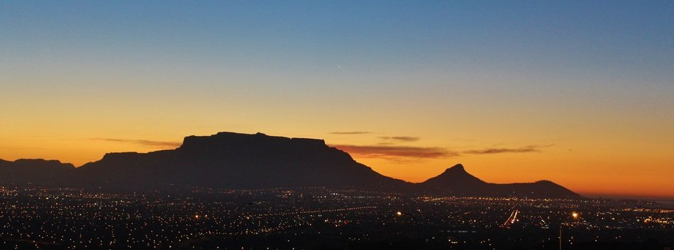 table mountain in dusk at sunset sky, south africa, cape town