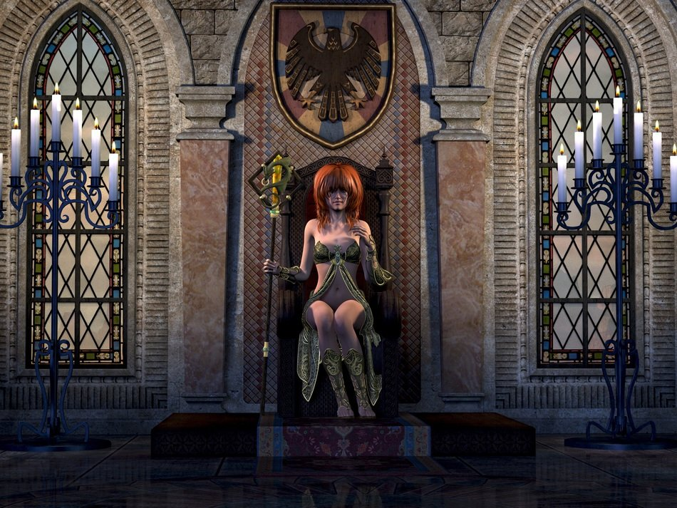 beautiful red haired woman at castle interior