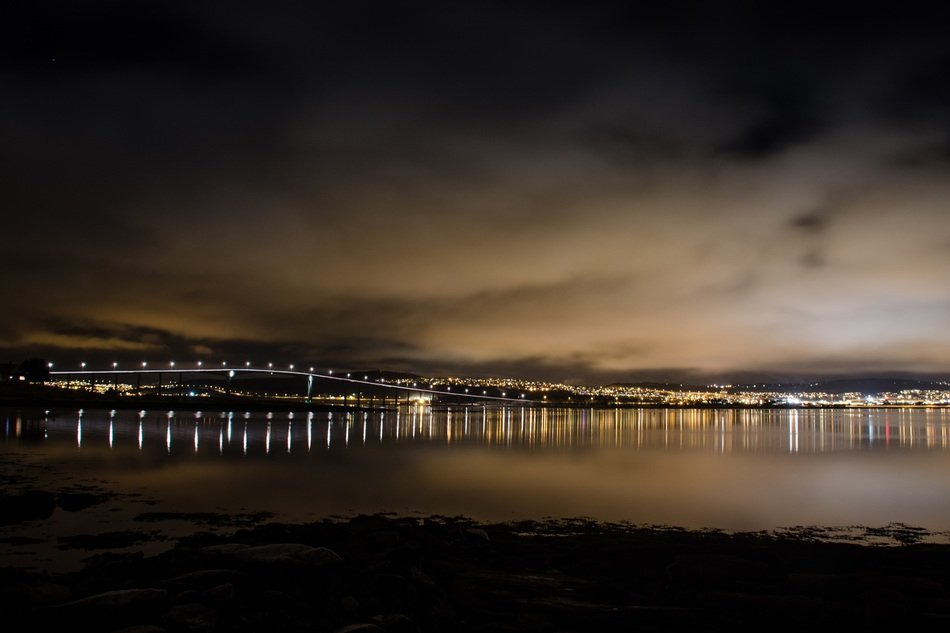 city lights at night landscape, norway, tromso