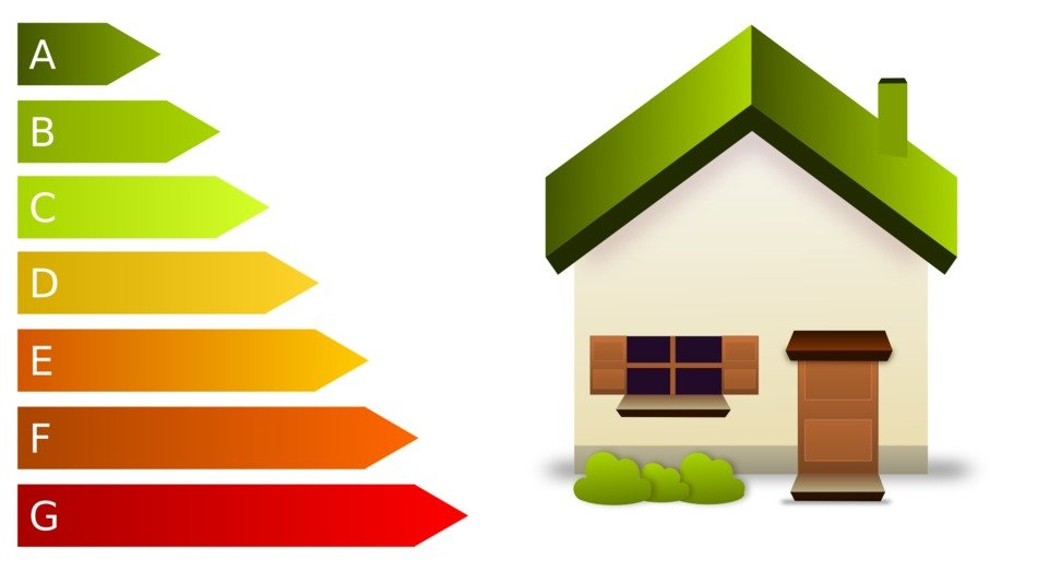 energy efficiency symbols and house, illustration