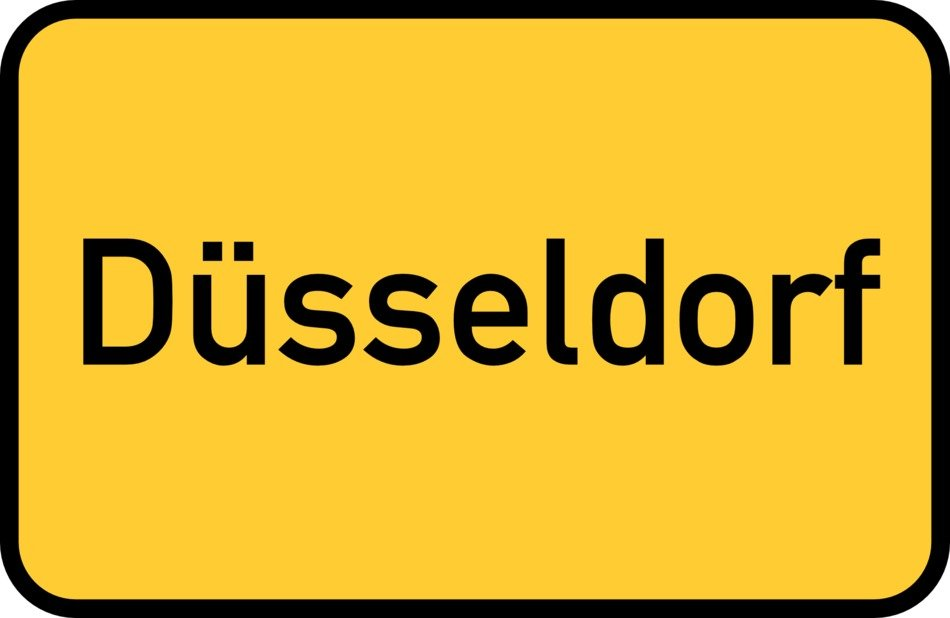 Dusseldorf yellow town sign