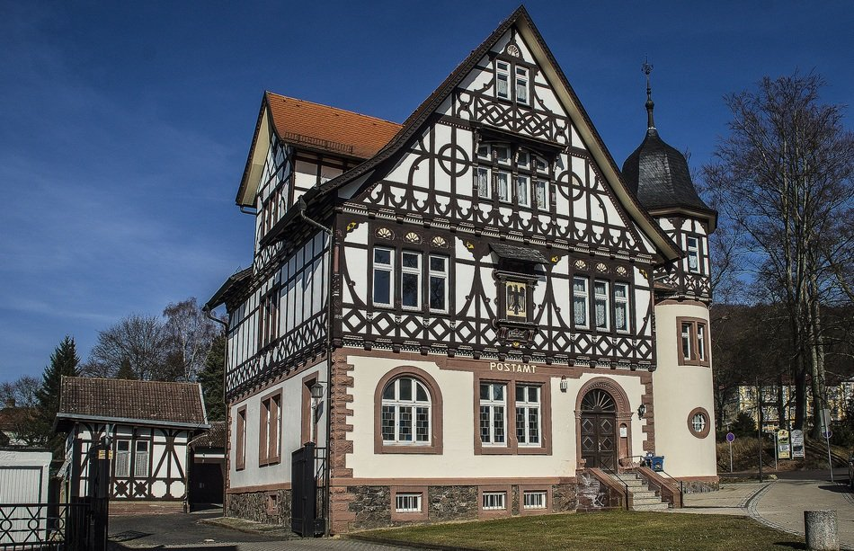 beautiful timber framed old building, post office, germany, bad liebenstein