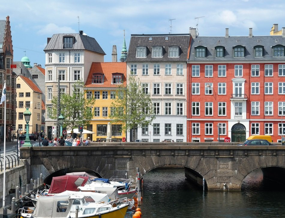 colorful old houses at channel, denmark, copenhagen