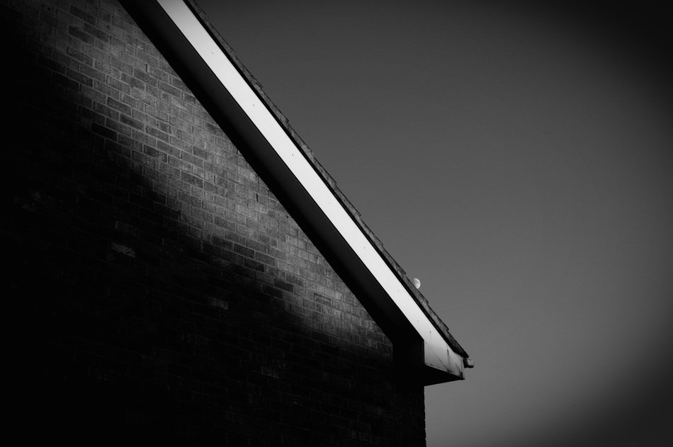 roof slope at sky, black and white