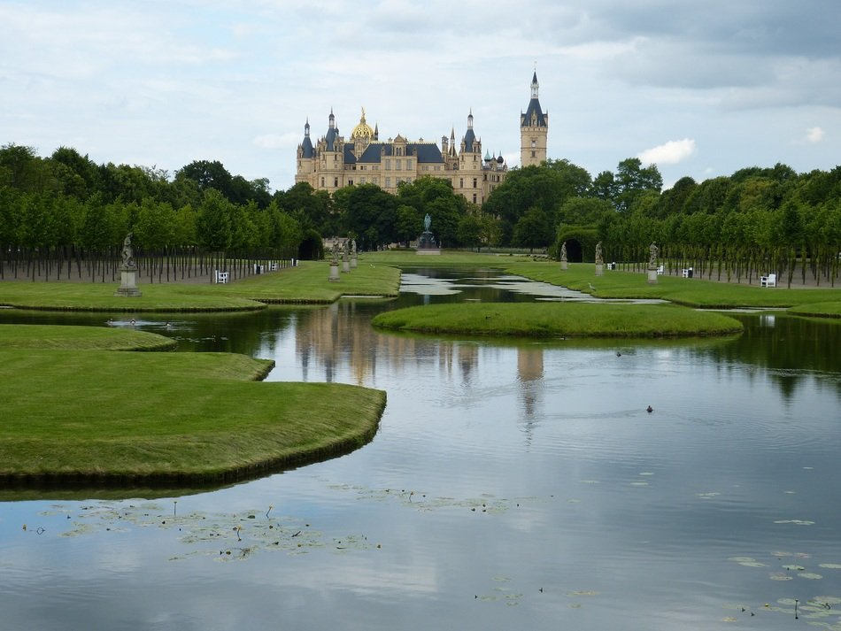 distant view of schwerin castle at summer, germania, mecklenburg