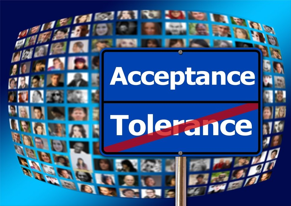 acceptance and tolerance, shield at human faces, collage