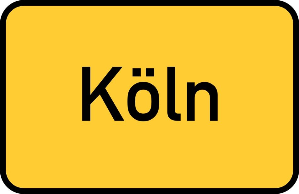 Koln yellow town sign