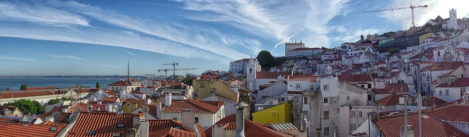 roof panorama of old town at sea, portugal, lisbon