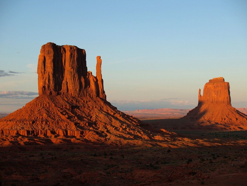 red rocks at evening sky, usa, utah, monument valley