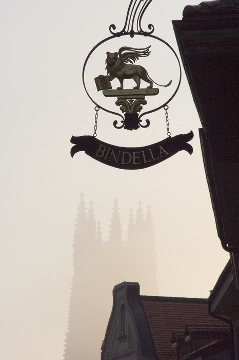 winged lion with book, street sign at foggy old city