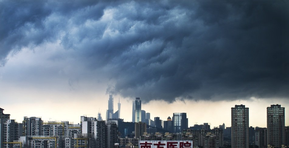 scenery rainstorm clouds above city, china, Guangzhou