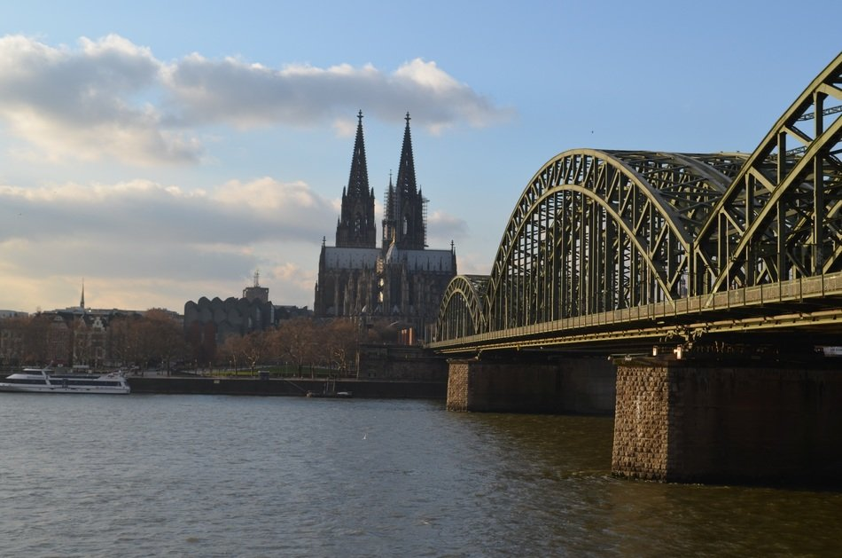 hohenzollern bridge at old city, germany, cologne