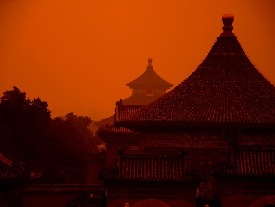 temples in dusk at red heaven, china, beijing