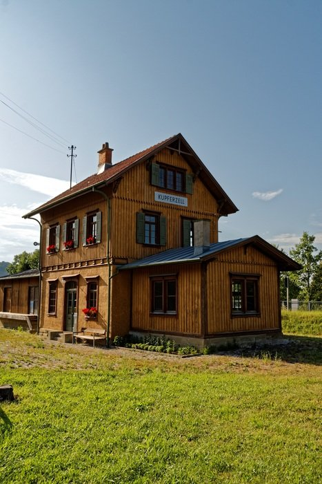 old wooden building of railway station