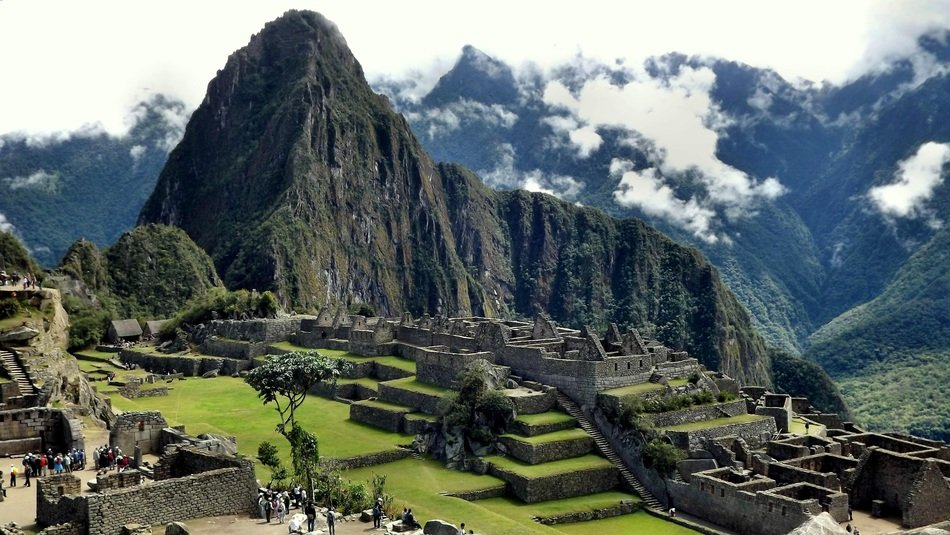 machu pichu ruins at mountain landscape, peru