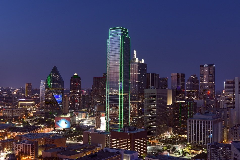 night downtown as seen from Reunion Tower, usa, texas, Dallas