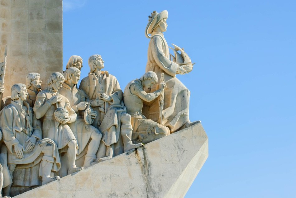 Monument to the Discoveries, fragment at sky, portugal, lisbon
