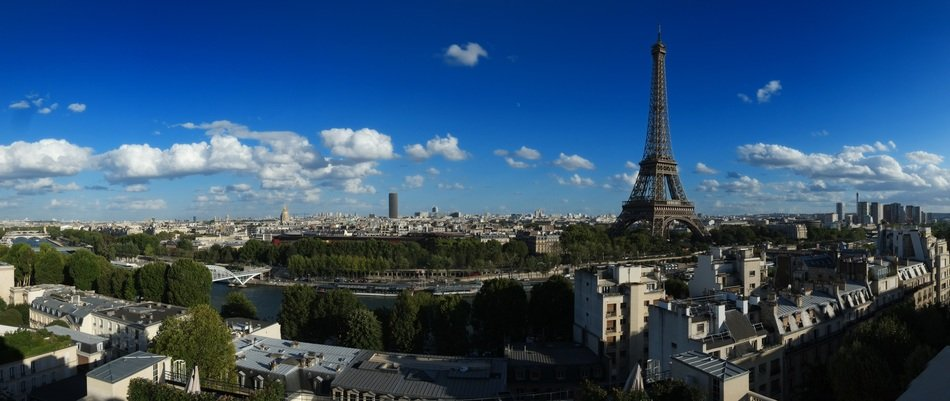 eiffel tower in panoramic view of city, france, paris