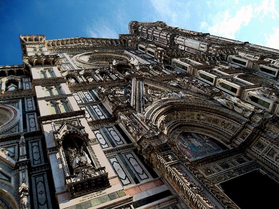 cathedral of Santa Maria del Fiore, gothic facade at sky, italy, florence