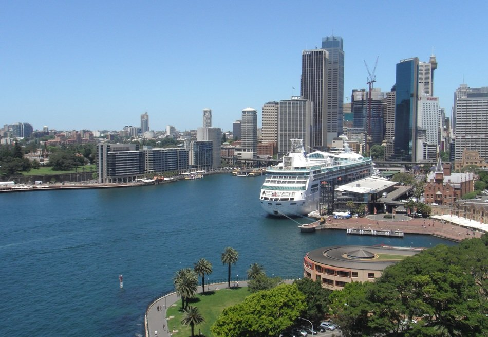 cruise ship at harbor in cityscape, australia, sydney