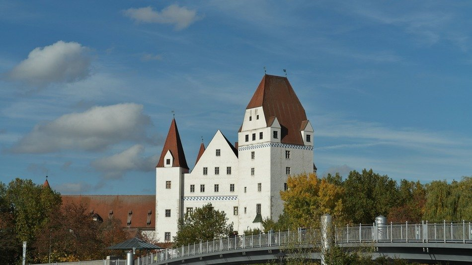 new castle, Gothic secular building at autumn, germany, ingolstadt