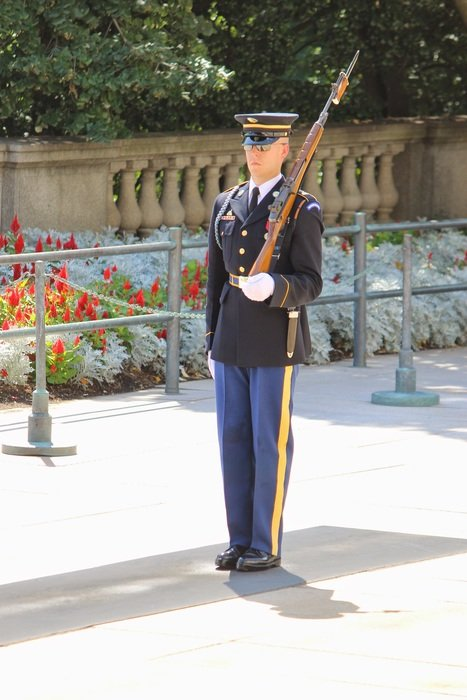 young soldier with rifle, guard on arlington cemetery, usa, washington dc