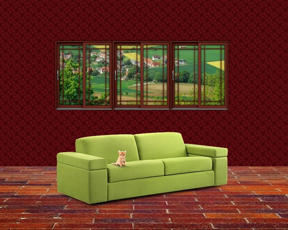 kitten on green sofa in red interior, visualization