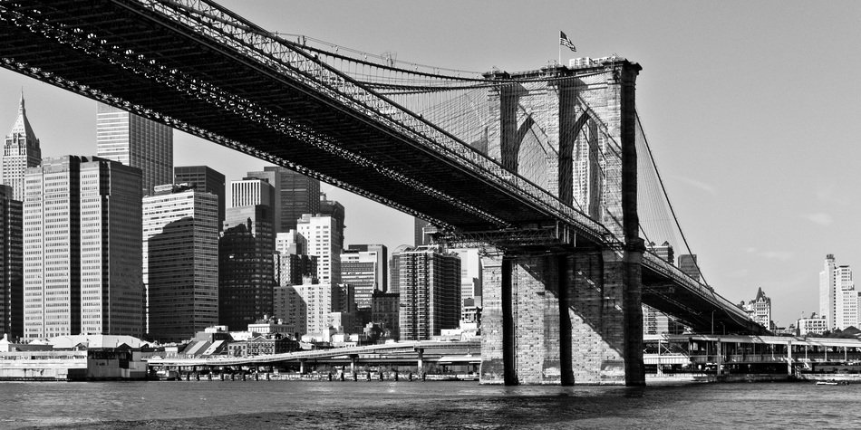brooklyn bridge at downtown, black and white, usa, manhattan, new york city