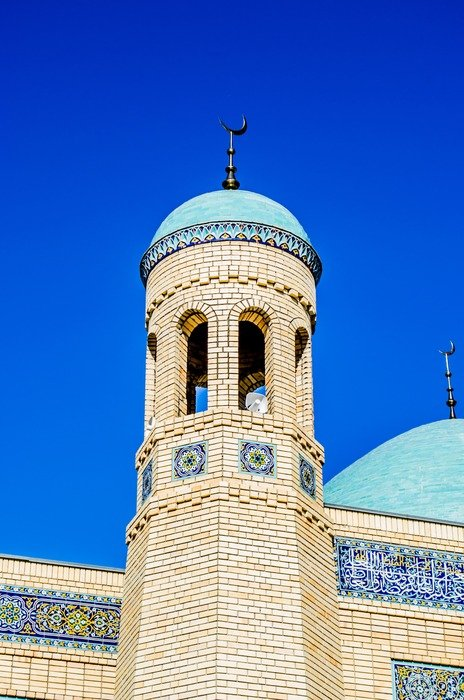 minaret at mosque, kazakhstan