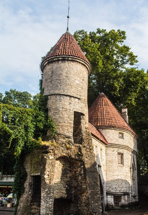 barbican of Viru Gate, part of the defence system of city wall, estonia, tallinn